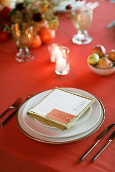 La Tavola Fine Linen Rental: Nuovo Burnt Orange with Nuovo Mustard Napkins | Photography: Laura Ford, Planning & Design: Jacqueline Hallgarth, Florals: Amanda Vidmar Designs, Venue & Catering: Standford Sierra Center, Rentals: Celebrations Party Rentals, Paper Goods: Lotus & Ash