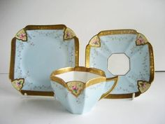 Shelley Art Deco Queen Anne Turquoise Gilded Trio Cup & Saucer Plate