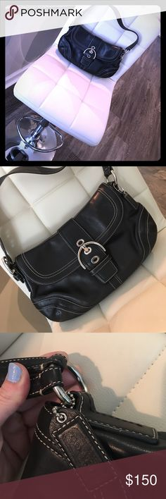 COACH Black Leather Purse with Silver Buckle Fierce black leather satchel with adjustable genuine leather strap purse. Zipper pocket on inside, and outer open back pocket on outside for convenience! Every Boss Lady needs a purse like this! In perfect condition, like new! No scratches, imperfections, or signs of wear. Simply moving and unfortunately need to downsize. Ships from Atlanta!! Coach Bags Shoulder Bags