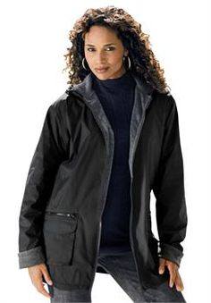 Plus Size Hooded Nylon Jacket