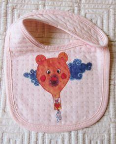 Bavaglino rosa hand Made con bottone a clip bambina baby in cotone con stampa fantasia di BabyBabyBonBon su Etsy