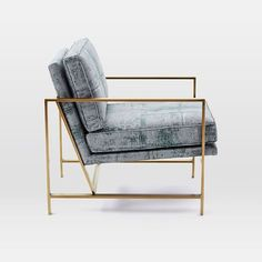 Metal Frame Chair, Luster Velvet, Dusty Blush