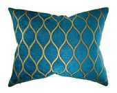 Decorative pillow cover / teal turquoise gold / 16 x 20 / chenille lattice