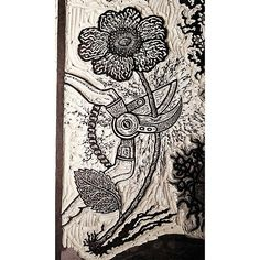 """""""wild prairie rose and garden clippers"""" detail from American Flowers linocut block part of American Epic series of prints #jesseshaw #printmaking #linocut #linoblock #americanepicseries"""