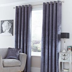 Monroe Charcoal Lined Eyelet Curtains | Dunelm