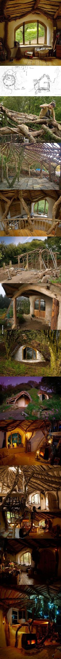 HOBBIT house, living roof. This is so awesome. I would LOVE if this were my cabin.