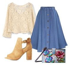 """""""Denim Skirt"""" by sillycatgrl ❤ liked on Polyvore featuring MANGO, Qupid and Anuschka"""