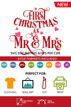 First Christmas as mr and mrs SVG Cut Files Wall Art Quote Printable Art Decor room Printable Poster digital Svg Dxf Cdr Eps Ai Jpg Pdf Png