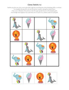 FREE Circus Sudoku puzzles for kids, with beginning and intermediate level games you can print and play. Great for stimulating critical thinking skills! Circus Activities, Preschool Activities At Home, Body Preschool, Book Activities, German Language Learning, Spanish Language, French Language, Printable Activities For Kids, Free Printables