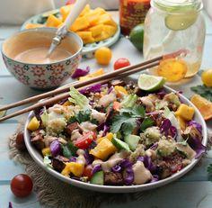 Thai Rainbow Quinoa Tofu Salad with Spicy Peanut Dressing
