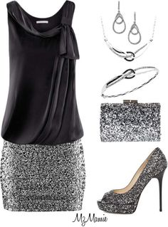 glittery silver and black, a perfect outfit for a weekend night out!glittery silver and black, a perfect outfit for a weekend night out! Trend Fashion, Look Fashion, Womens Fashion, Fashion Night, Party Fashion, Ladies Fashion, Mode Outfits, Casual Outfits, Fashion Outfits