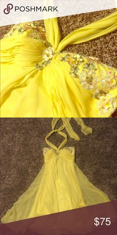 Yellow cocktail dress Bright, summery yellow cocktail dress. Beautiful for prom, weddings, and other events. Detailed bodice. Only worn once. Dresses Strapless