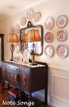 Plate Wall Decor, Plates On Wall, Mirror Plates, Hanging Plates, French Decor, French Country Decorating, Dining Room Buffet, Dining Set, Dining Table