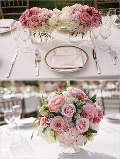 pink white and gold wedding ideas #weddingdecor #weddingreception #weddingchicks http://www.weddingchicks.com/2014/03/05/hawaiian-pink-and-gold-wedding/