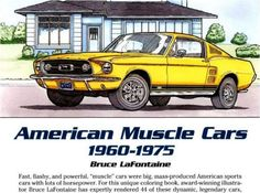 Adults Coloring Book American Classic Muscle Cars Design Stress Relief Pattern Classiccars
