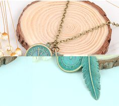 Blätter zifferblatt halskette Marke Big Luxus Erklärung Anhänger Halskette Vintage Maxi Frauen Zubehör Seil Kette Feder Muster C240