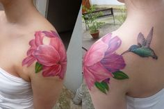 Tattoo consists of three rhododendron flowers and a humming bird.