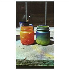 Repurposed Spray Painted Glass Jars ☆ #DIY #Crafts #Design #Decor #Color #Ombre #PlutoniumPaint #PlutoniumSprayPaint #SprayPaint #AerosolPaint #SpecialtyPaint #FastDry #EcoFriendly #40colors #MadeInTheUSA #USAMade ||  by: @kathrynmact_