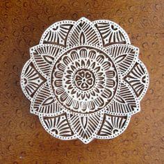 Large Flower Stamp, Hand Carved Wood Stamp, Printing Block, Indian Circle Stamp, Block Stamp, Walll Hanging, Plaque