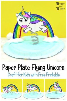 Unicorn and Rainbow Paper Plate Craft for Kids Paper Plate Flying Unicorn and Rainbow Craft for Kids- grab some pipe cleaners and our free printable [. Paper Plate Crafts For Kids, Fun Crafts For Kids, Craft Stick Crafts, Craft Kids, Yarn Crafts, Kid Crafts, Rainbow Paper, Rainbow Crafts, Rainbow Sky