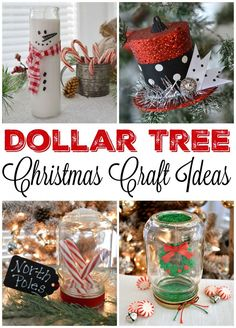 Dollar Tree Christmas Craft and Decor Ideas - Candles, Ornaments and Mason Jar Snow Globes! www.foxhollowcottage.com