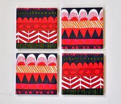 Ceramic Coasters Marimekko Geometric Pattern