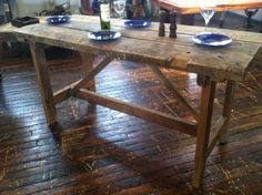 Rustic Modern Country Chic Reclaimed Wood Table, Kitchen Island, Desk, Project Center for Restaurant or Home Use Modern Country, Rustic Modern, Country Chic, Table Legs, Wood Table, Dining Table, Country Kitchen Tables, Backyard Decorations, British Colonial
