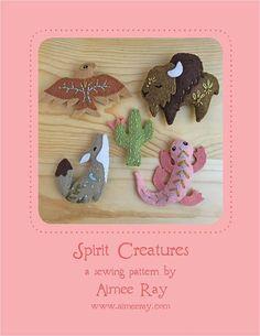 Mini Felt Spirit Creatures plush PDF sewing pattern felt