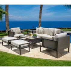 Vistano 7-piece Seating Set cool grey wicker, includes coffee table and end table