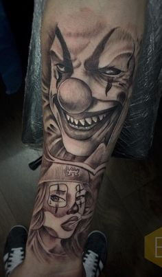 Gangsta Tattoos, Dope Tattoos, Body Art Tattoos, Tattoos For Guys, Tatoos, Arm Tattoo, Sleeve Tattoos, Clown Tattoo, Joker Pics