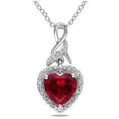 Miadora Sterling Silver Created Ruby and Diamond Accent Heart Necklace (205.635 COP) ❤ liked on Polyvore featuring jewelry, necklaces, accessories, pendant necklaces, diamond accent heart pendant, ruby pendant necklace, sterling silver pendant necklace and red heart pendant