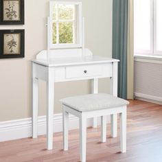 Best Choice Products Vanity Table Set W/ Stool Bedroom Home Furniture-