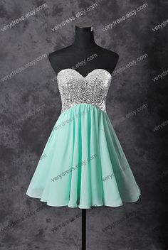 Mint short prom dress tulle prom dress champagne prom by verydress, $55.00