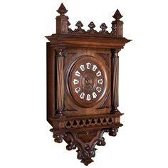 Antique Gothic Walnut Wall Clock 1