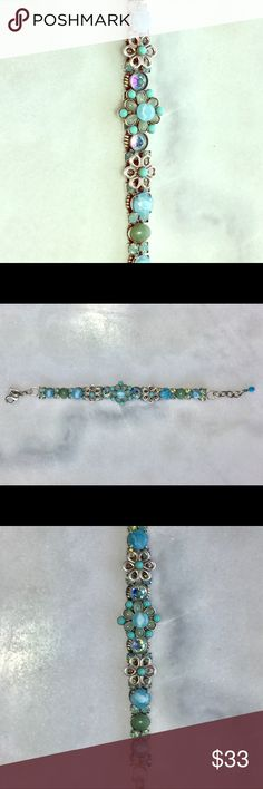"Mary DeMarco Turquoise Flower Bracelet One of a kind. Extremely good quality. 7.5"" long. Cleaned ultrasonically just for you. 😊 Mary DeMarco Jewelry Bracelets"