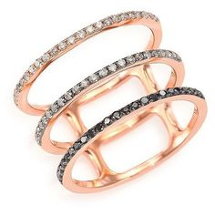 EF Collection Black/White Diamond & 14K Rose Gold Fade Triple-Band... found on Polyvore featuring jewelry, rings, accessories, apparel & accessories, rose gold, red gold ring, rose gold ring, band jewelry, rose gold jewelry and trio rings
