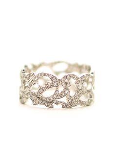 Designer Suzanne Kalans 18k white gold beautiful size 7 filagree 10mm wide band. .79ctw diamonds.
