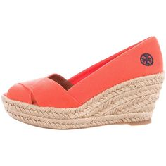 Pre-owned Tory Burch Filipa Espadrille Wedges ($75) ❤ liked on Polyvore featuring shoes, sandals, orange, orange sandals, wedge heel sandals, cut out sandals, braided sandals and wedge sandals