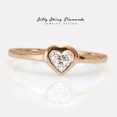 Heart Diamond Solitaire Engagement Ring, Heart Diamond Bezel Set Engagement Ring, Solitaire Ring, Delicate gold & heart Diamond Ring #HeartRing #HeartDiamondRing #SolitaireRing #ArtDecoEngagement #DiamondRing #UniqueEngagement #SolitaireEngagement #EngagementRing #DelicateRing #DiamondSolitaire Heart Engagement Rings, Solitaire Engagement, Solitaire Ring, Delicate Rings, Unique Rings, Heart Shaped Diamond, Natural Diamonds, Heart Ring, Fine Jewelry