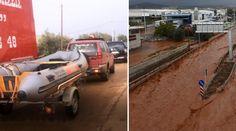 Δημιουργία - Επικοινωνία: Βρέχει ξανά καταρρακτωδώς στη Μάνδρα - Με βάρκες β...