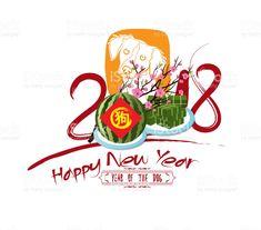 Happy new year 2018 zodiac dog. Lunar new year (hieroglyph: Dog) royalty-free stock vector art New Years Eve 2018, Happy New Year 2018, Happy Year, 2018 Zodiac, New Year Designs, New Year Images, Dog Years, Lunar New, Free Vector Art