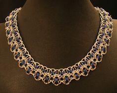 Aluminum & Blue Rondo a la Byzantine Necklace by lovestruckjewelry, $60.62