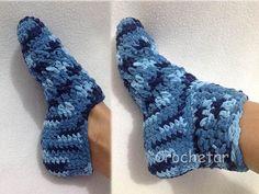 Meia crochê  Sapatilha / Pantufa crochê Sock crochet