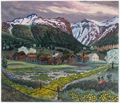 Painter and printmaker Nikolai Astrup, dedicated himself to creating a Norwegian visual language. His use of vibrant colors and illumination gives his pieces a romantic hue, revealing Astrup's undying love for his country.