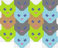 Tessellating cat face quilt pattern.