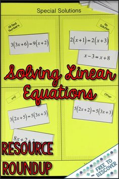 Last year I wrote about my favorite tips and tricks for teaching linear equation solving. High School Algebra, Algebra 1, Algebra Activities, Teaching Math, Teaching Ideas, Solving Linear Equations, Equation Solving, 7th Grade Math, Ninth Grade