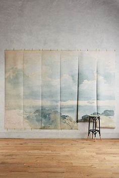 Slide View: Coastal Cirrus Mural- I know this is watercolor, but I'm putting it here for painting inspiration Watercolor Wallpaper, Watercolor Walls, Watercolour, Painted Wallpaper, Unique Wallpaper, Home Wallpaper, Wallpaper Designs, Modern Hepburn, Wall Murals
