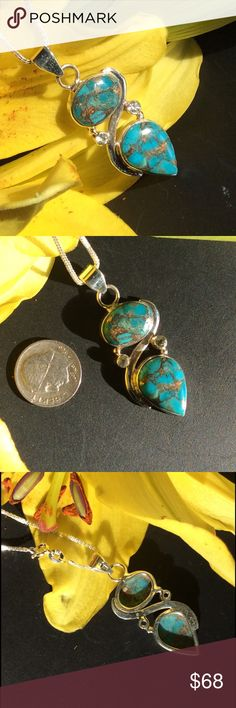 """Copper Blue Turquoise & Topaz Necklace NWOT Gorgeous copper blue turquoise stones set in sterling silver and accented with pale genuine Topaz gemstones. Hangs from an 18"""", sterling silver chain. Handcrafted pendant is brand new without tags. Handcrafted Jewelry Necklaces"""