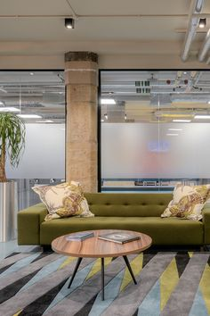 Developing a relaxing yet inspirational office space for the Leith Agency was achieved by combining vibrant and exciting colours. Commercial Furniture, Commercial Interior Design, Commercial Interiors, Office Furniture Design, Workspace Design, Agency Office, Cool Office, Contract Furniture, Office Interiors