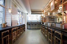 Copenhagen's hippest hound oversees the considered Japanese philosophy at design-conscious noodle bar Slurp Ramen Joint. Brewery Restaurant, Ramen Restaurant, Ramen Bar, Ramen Shop, Noodle House, Noodle Bar, Japanese Philosophy, Bar Design Awards, Small Restaurants